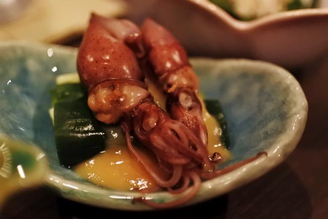うるいとホタルイカの黄身酢味噌