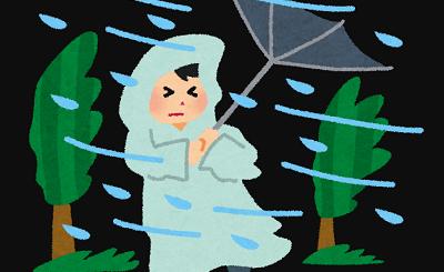 暴風雨で傘がとばされそう。