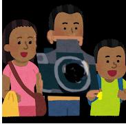 ありえないぐらい大きいカメラを両手で持つ観光客。