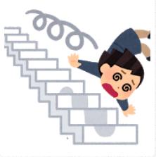 階段から転がり落ちる女性