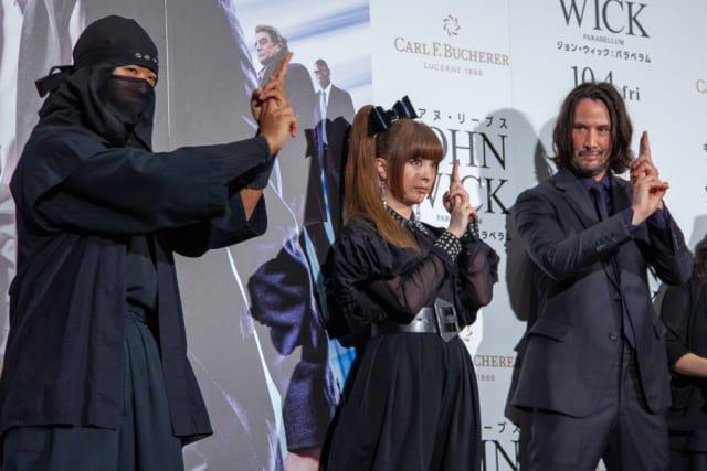 Ниндзя обучает Киану Ривза на премьере фильма Джон Вик 3 в Японии