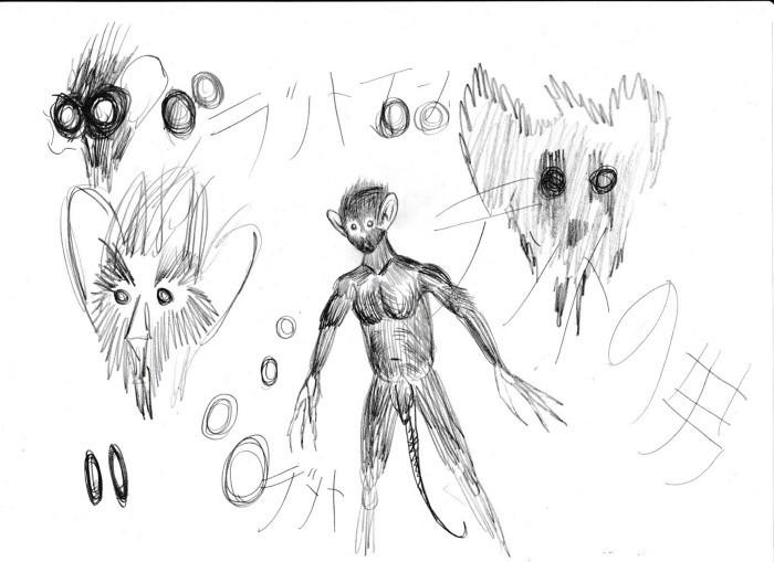 Наброски Миядзаки с изображением Человека-Крысы