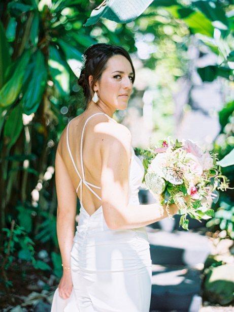 portrait of bride before seeing her groom