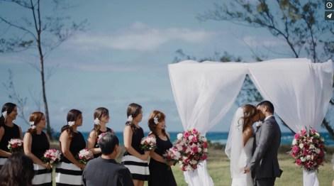 bridesmaids and kiss