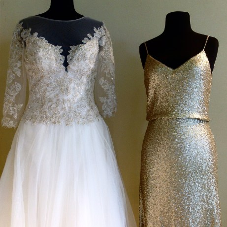 Gold applique lace illusion long sleeve alin gown by Sophia Tolli and gold sequin bridesmaid dress by Jenny Yoo