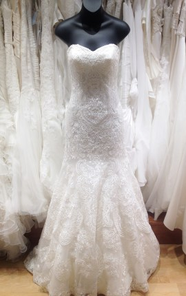 Modern lace over sequin layer mermaid wedding gown by Justin Alexander
