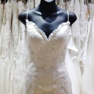 Simple sheath applique lace dress by Lillian West