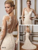 Justin Alexander long sleeve lace detail low back with covered buttons wedding gown