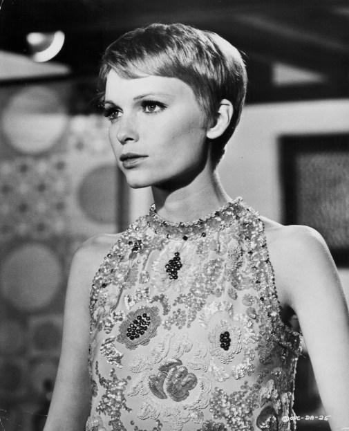 Portrait of actress Mia Farrow, in a scene from the movie 'A Dandy in Aspic', 1968. (Photo by Pictorial Parade/Moviepix/Getty Images)