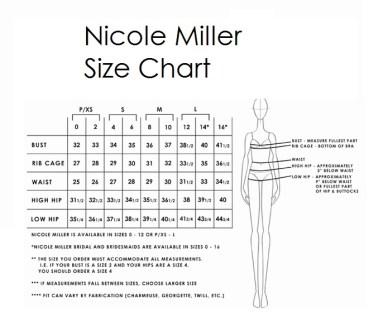 nicole miller size chart