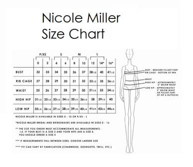 nicole miller size chart