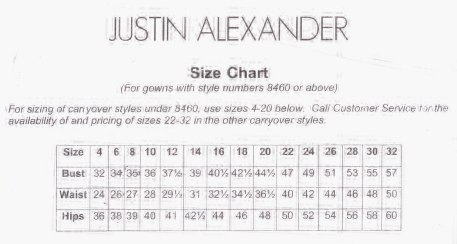 Justin Alexander Size Chart