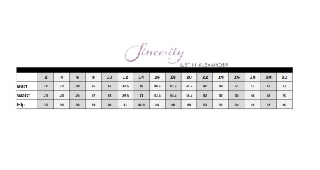Sincerity Size Chart