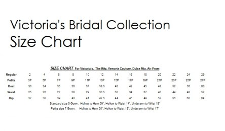 Victoria's Bridal Size Chart