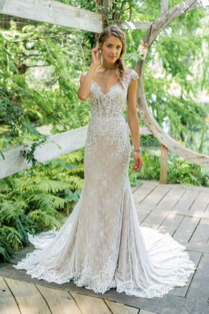 Boho cap/ off the shoulder sleeve lace wedding gown by Lillian West