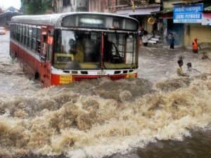 Monsoon bus in rain water