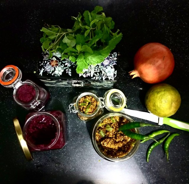 Beetroot-Gooseberry-Mint chutney and Chilli Pickle