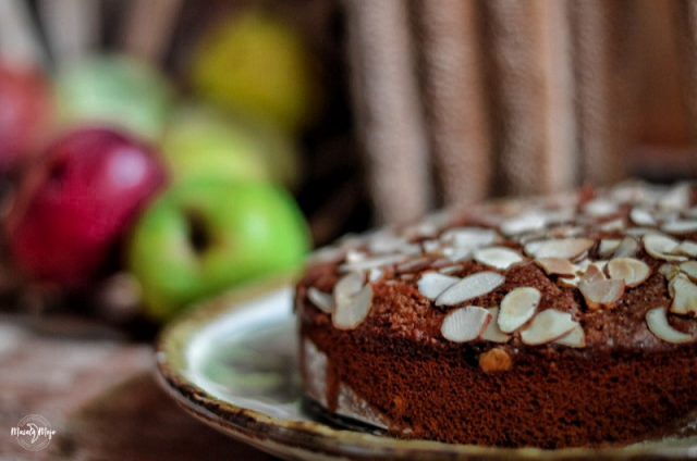 Eggless Apple Almond Cake