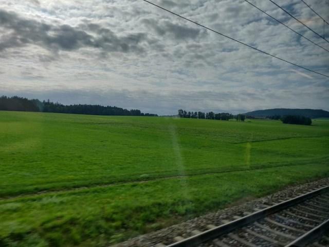Overcast sky on the train ride to Salzburg