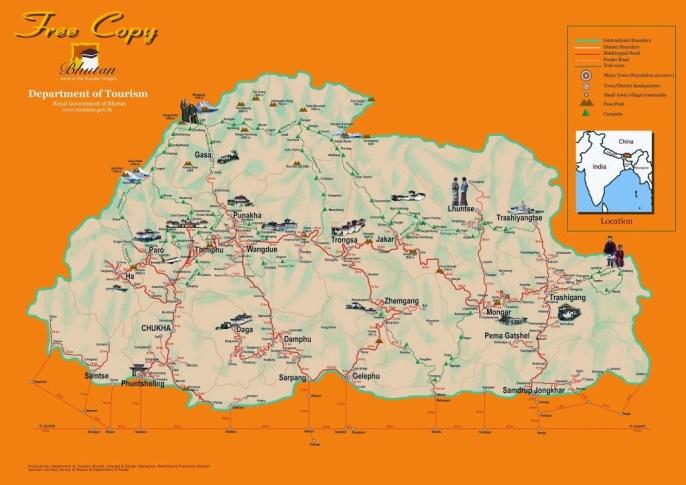 Bhutan Tourist Map