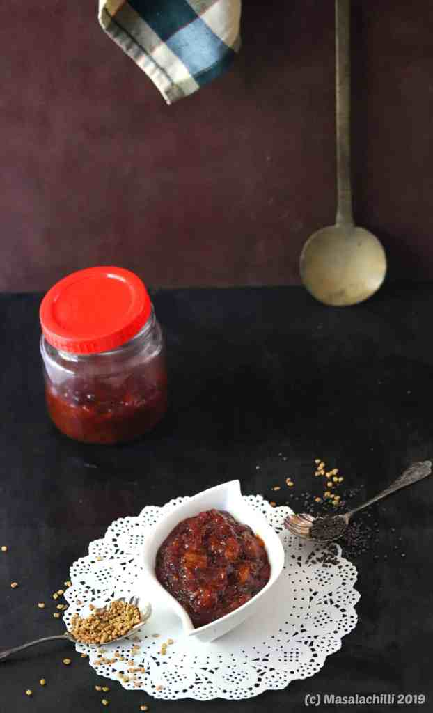 Methamba  (Sour Spicy Sweet Raw Mango Relish of Maharashtra)