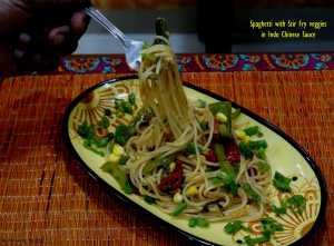 Spaghetti with Stir Fry veggies in Indo Chinese Sauce