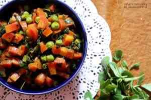 Gajar Matar aur Methi Ki Sabzi / Carrot, Peas and Methi Veg