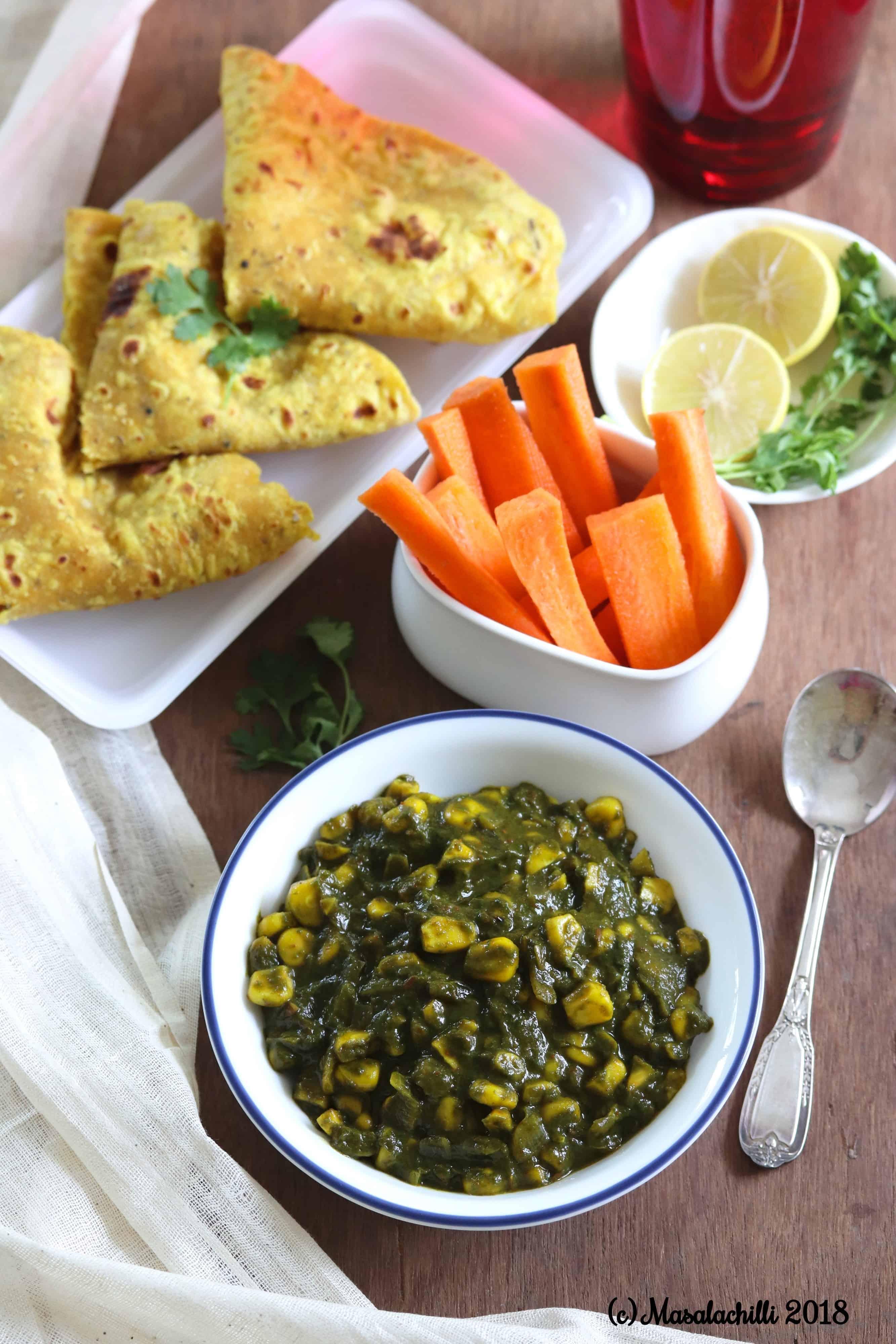 Bhutte aur Palak Ki Sabzi (Spinach and Corn Veg)