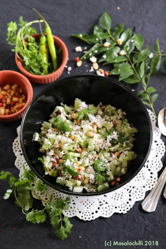 Khamang Kakdi / Cucumber and Peanut Salad in Maharashtrian Style