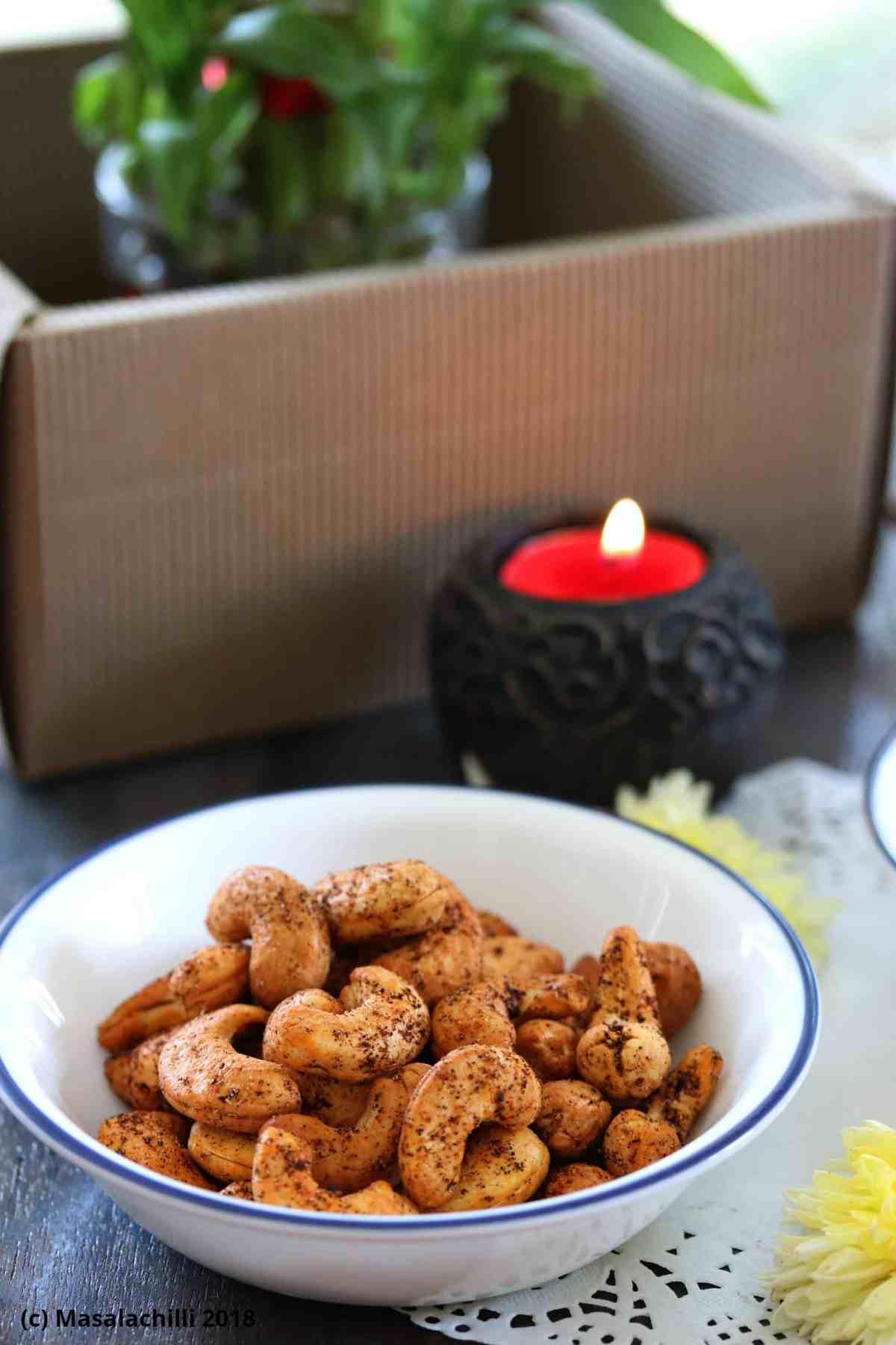 Air Fried Spicy Masala Kaju or Spicy Masala Cashew Nuts in Air Fryer