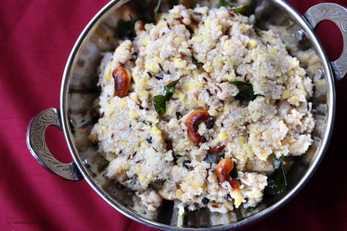 Samba Wheat Rava Pongal, South Indian Breakfast Recipe