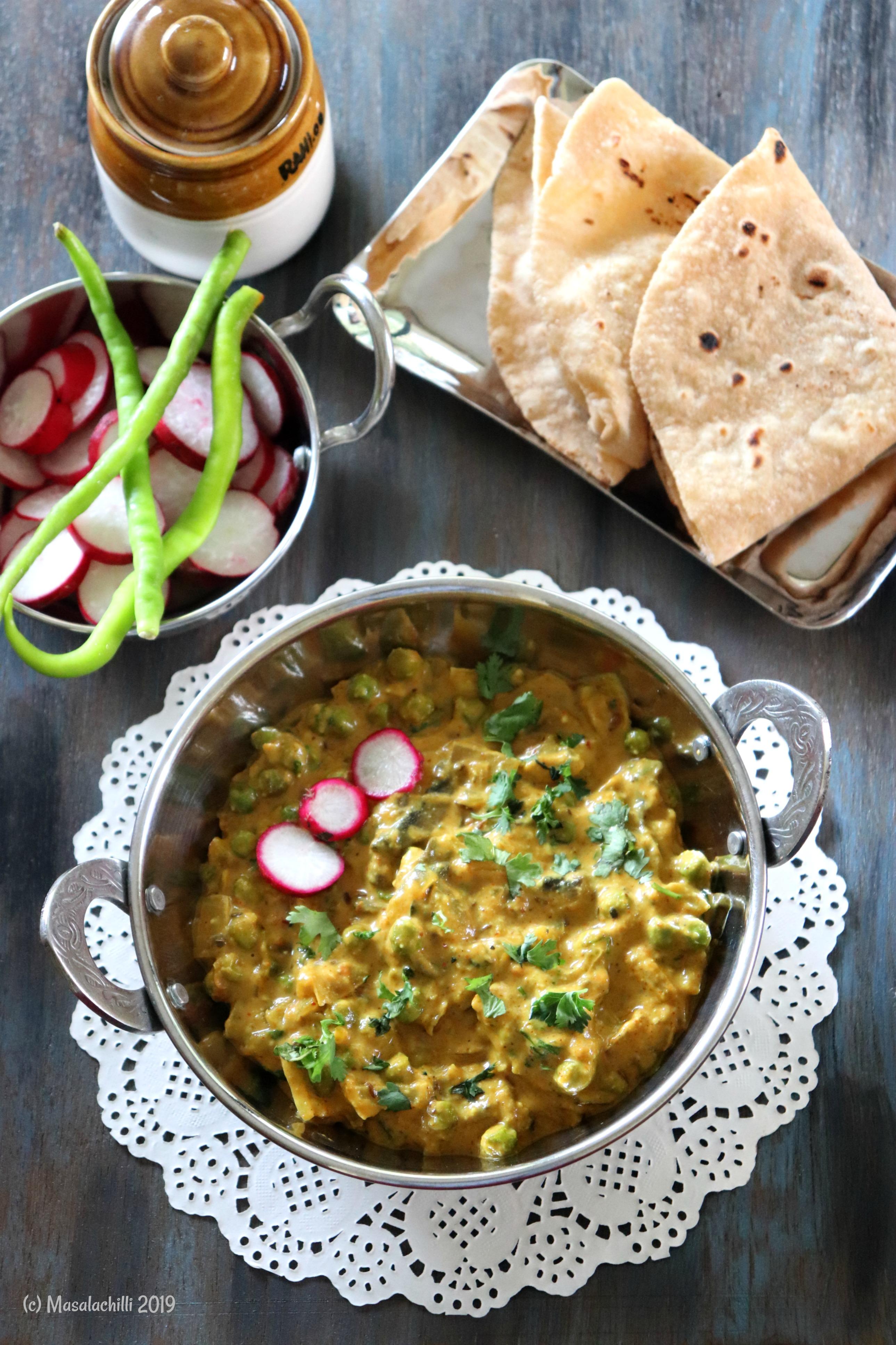Matar Mushroom Ki Sabzi / Vegan Mushroom Peas Curry