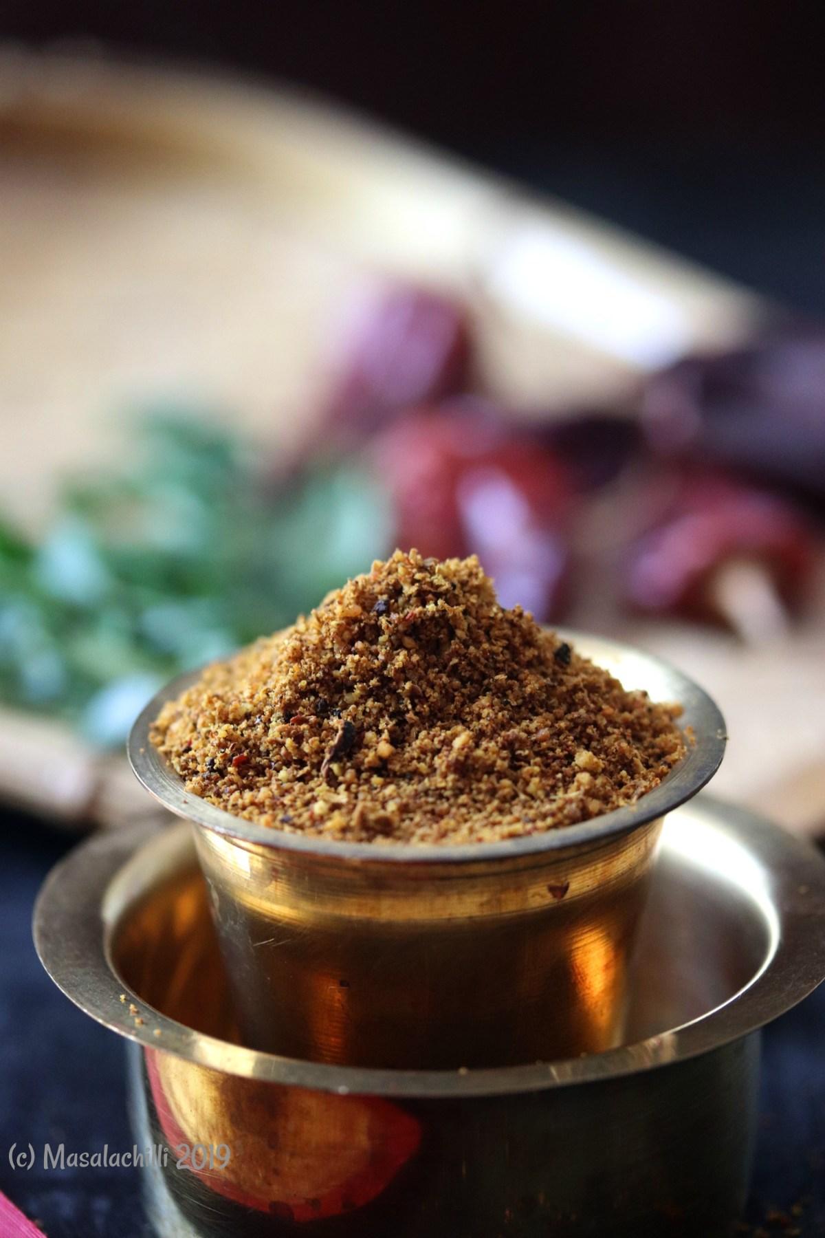 Udipi cuisine homemade Bisi Bele Bath powder or Bisi Bele bath masala recipe