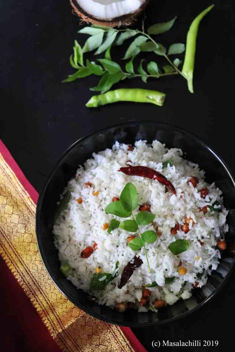 South Indian Coconut Rice Recipe / Thengai Sadam