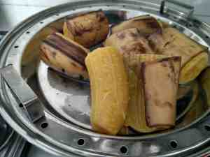 Steamed Nendthra Bananas Peeled