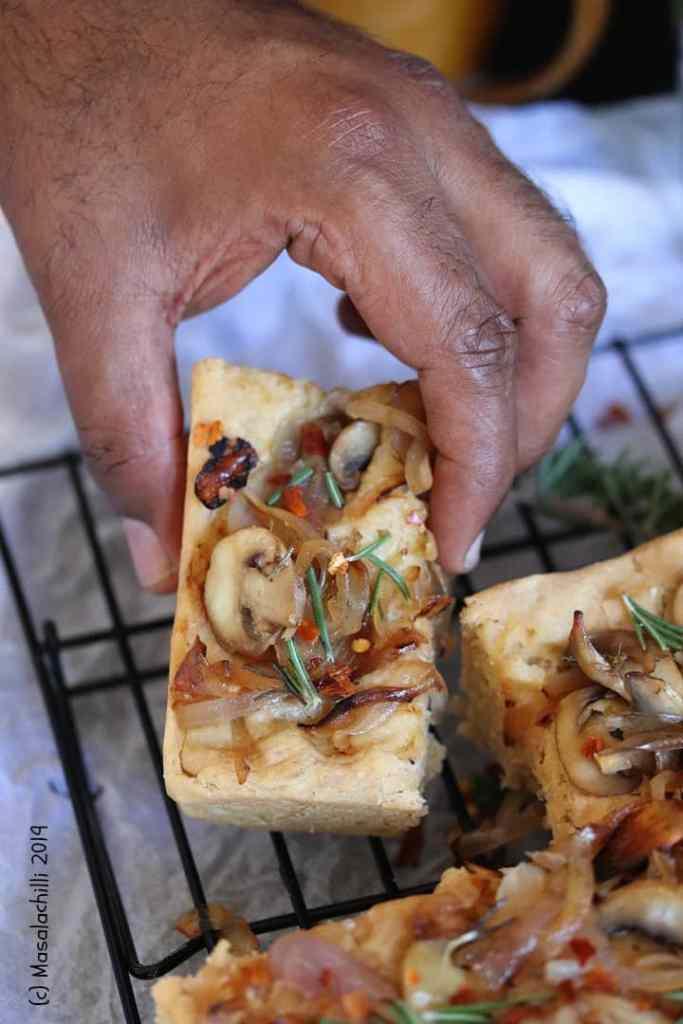 Piece of Italian Focaccia Bread