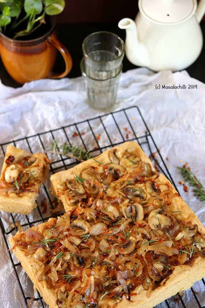 Focaccia Bread with Caramelized Onions and Mushroom (Whole Wheat)