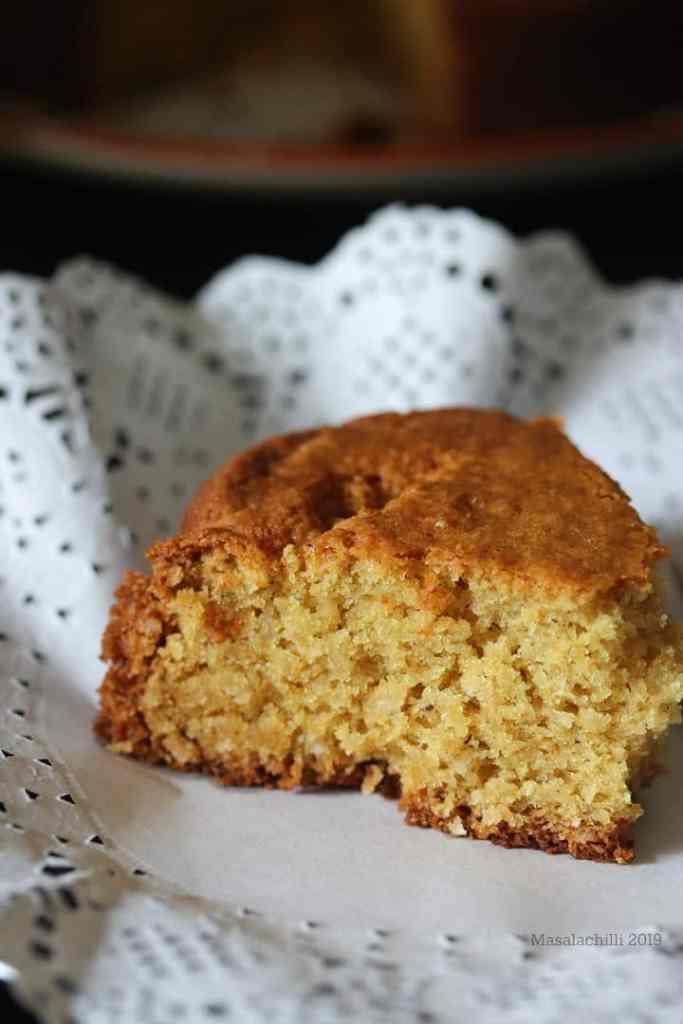 Eggless Coconut Cake, soft tea time cake recipe