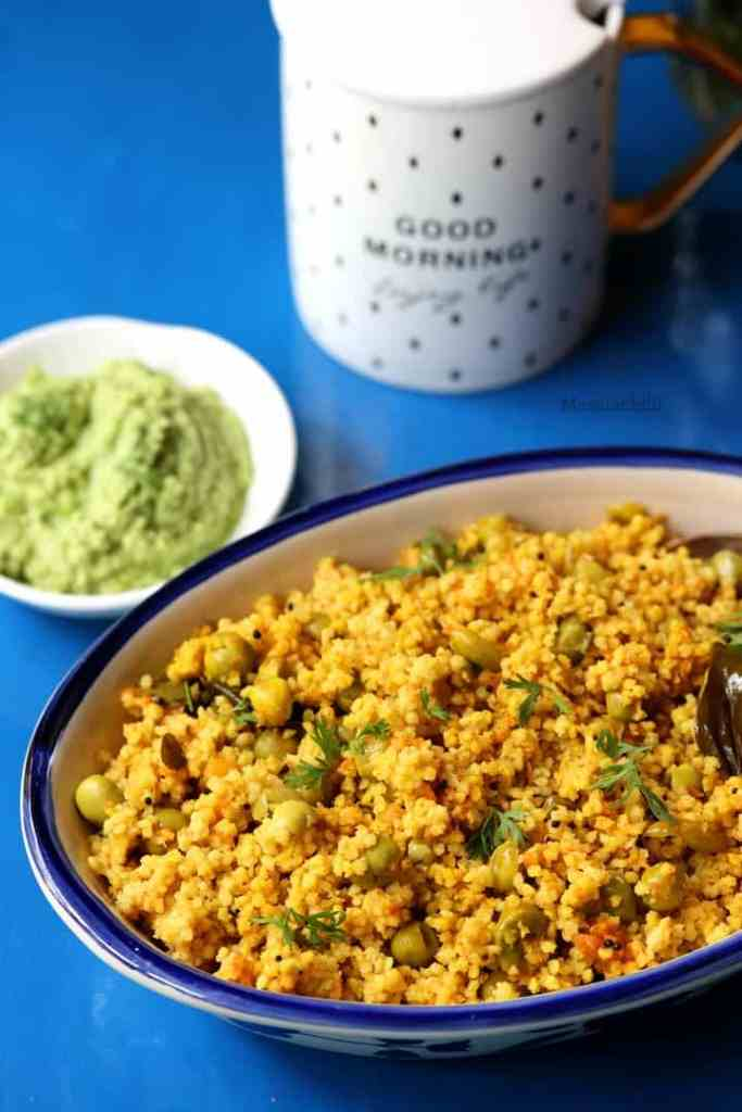 Foxtail Millet Upma served with chutney and tea