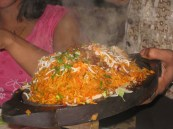 Spicy and Hot Aloo Dum Biryani Sizzler