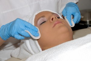Skincare facial treatment at day spa