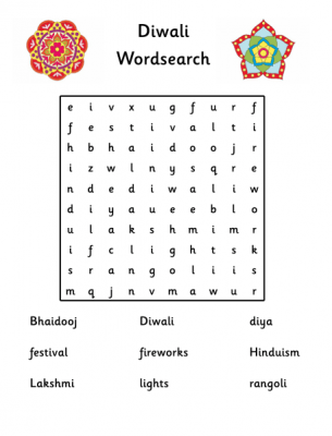 Diwali wordsearch