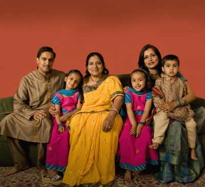 Multi-generational Indian family in traditional dress