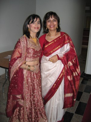me and my mom at my first karva chauth