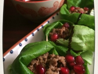 Chicken Keema Lettuce Wraps with Tamarind Dipping Sauce