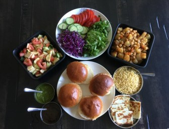 Paneer Sliders with Aloo (Potato) and Fruit Chaat
