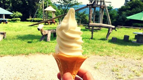 ソフトクリームを持っている、奥に芝生と遊具