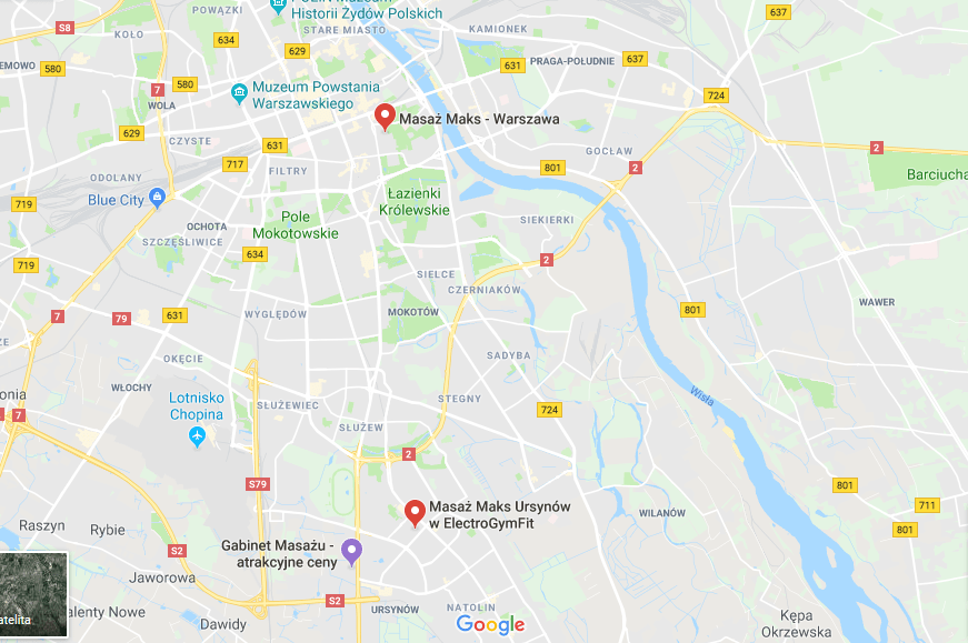 Warsaw Massage Center and Ursynów map