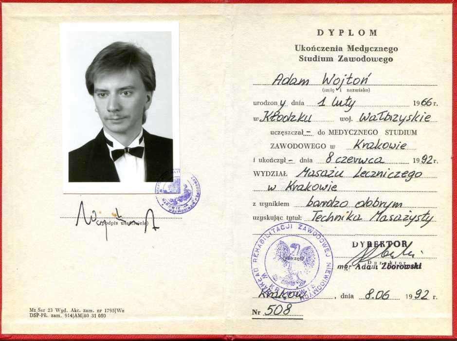 Dyplom tech. masażysty Adama Wojtonia