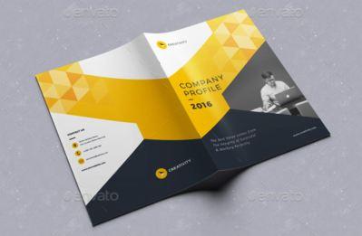 Company Profile Corporate Brochure Tema Warna Kuning Hitam